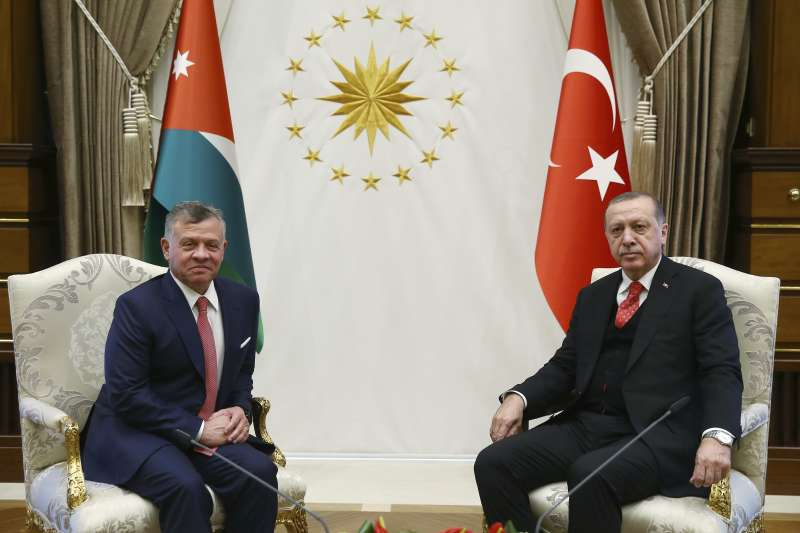 美國承認耶路撒冷為以色列首都,約旦國王阿布杜拉二世(左)與土耳其總統艾爾多安同聲譴責(AP)