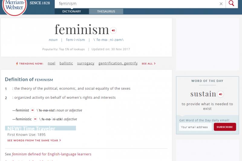 《韋氏字典》2017年度字彙:女性主義(翻攝韋氏字典官網)