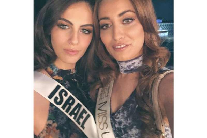 伊拉克小姐伊丹(右)因為與以色列小姐(左)合照而收到死亡威脅(取自sarahidan@Instagram)