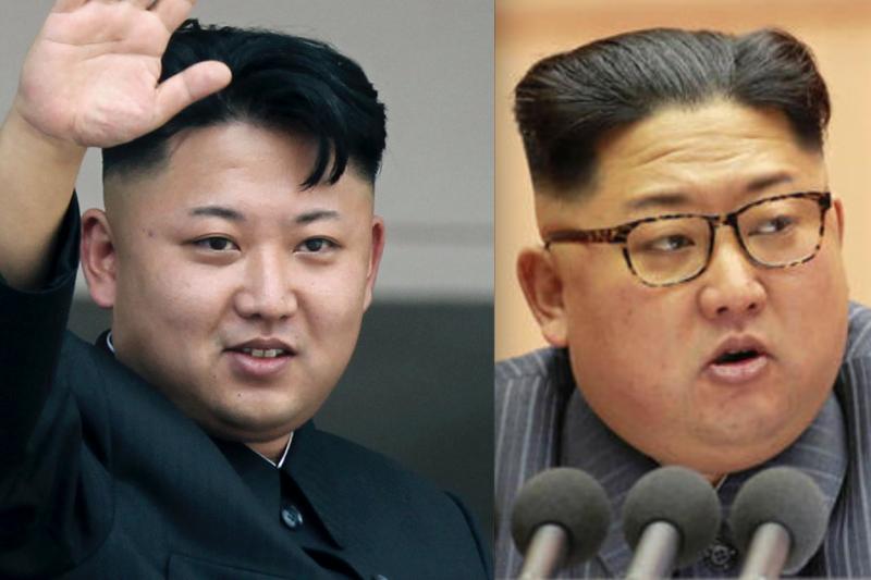 金正恩剛接掌北韓時的身型比現在正常許多,也還看到的脖子在哪。