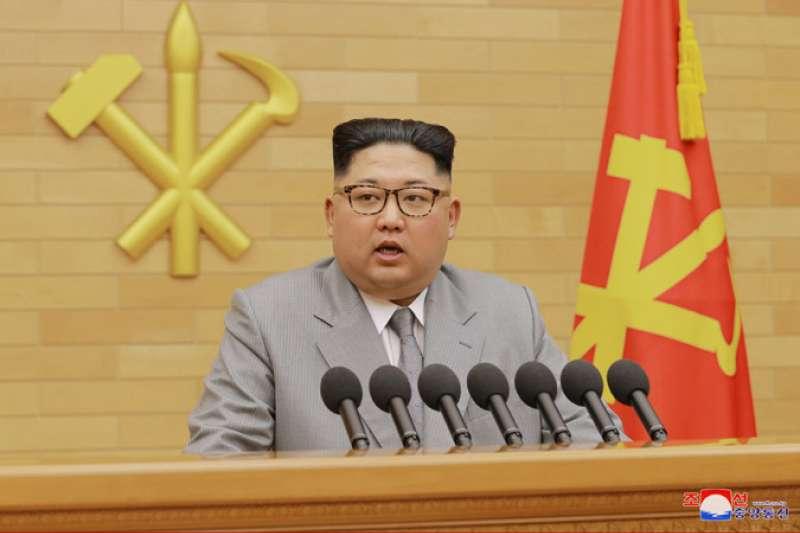 北韓最高領導人金正恩發表2018元旦談話,對南韓伸出橄欖枝。(取自朝中社)
