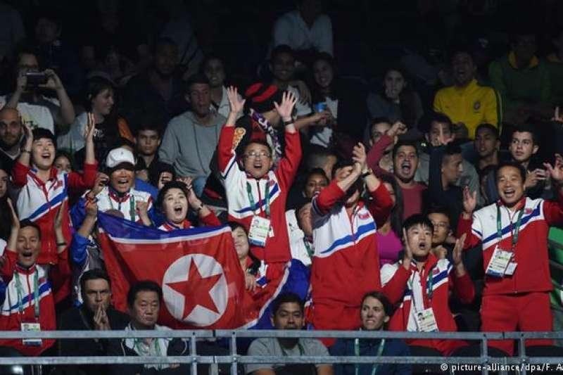 里約奧運會上,熱情的北韓啦啦隊。(德國之聲)