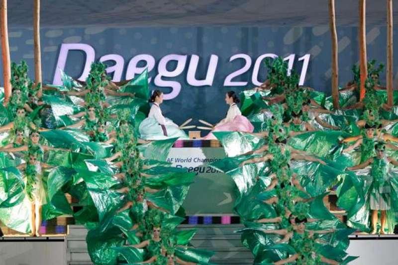 大邱國際田徑錦標賽上,朝韓運動員共同入場。(德國之聲)