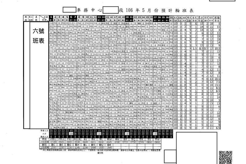 林佳瑋13日在臉書公布某企業員工的輪班制班表,圖為六號班表,讓林佳瑋直呼太複雜。(取自林佳瑋臉書粉絲專頁)