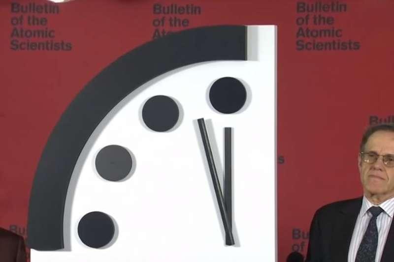 氣候變遷、核武危機瀕臨最高點 末日鐘倒數2分鐘。(截圖自YouTube)
