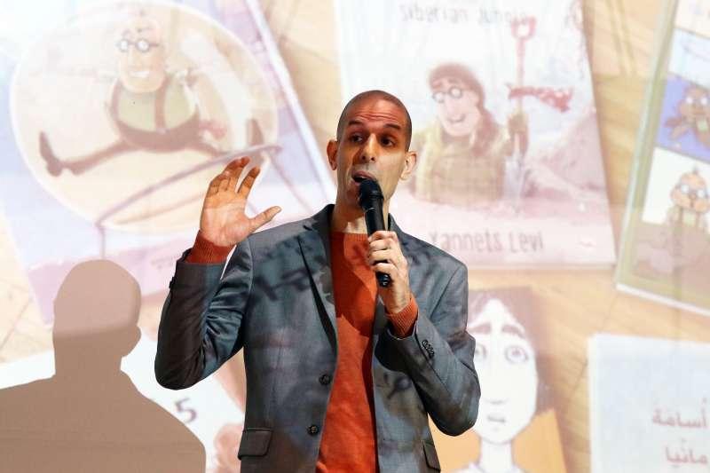 20180208-世貿書展,以色列作家利維在活動中分享自己童書角色的創作發想和故事內容。(蘇仲泓攝)