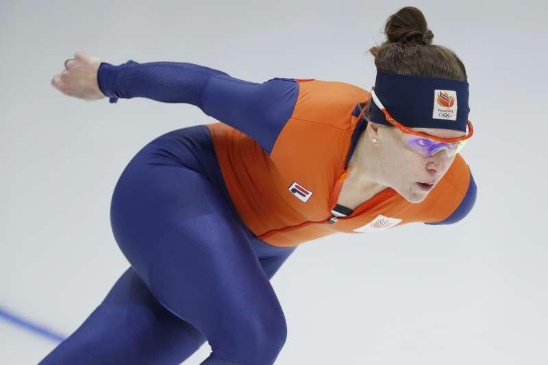 荷蘭競速滑冰女運動員伍思特接受平昌冬奧的賽前訓練(AP)