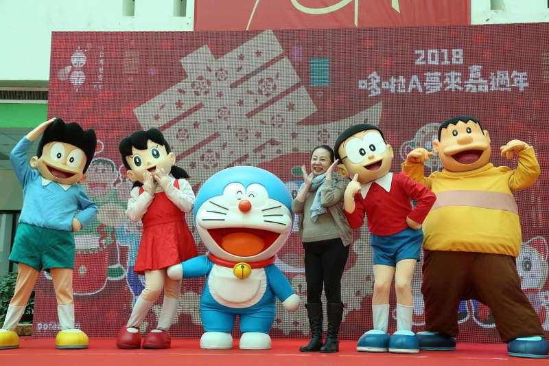 日本知名動漫哆啦A夢家族全員2月16日大年初將一起現身2018臺灣燈會。(圖/嘉義縣政府提供)