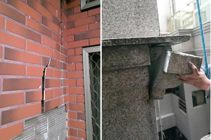 地震易導致外牆磁磚脫落、及外牆大理石扣件鬆脫發生危險(圖/中華繩索技術協會提供)