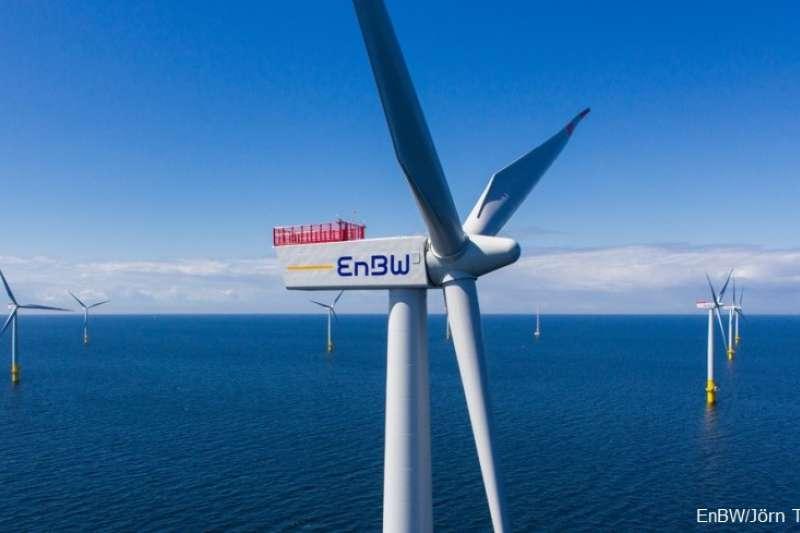 上緯新能源12日宣布,德國電力公司EnBW將入股海鼎3座風場。(EnBW提供)