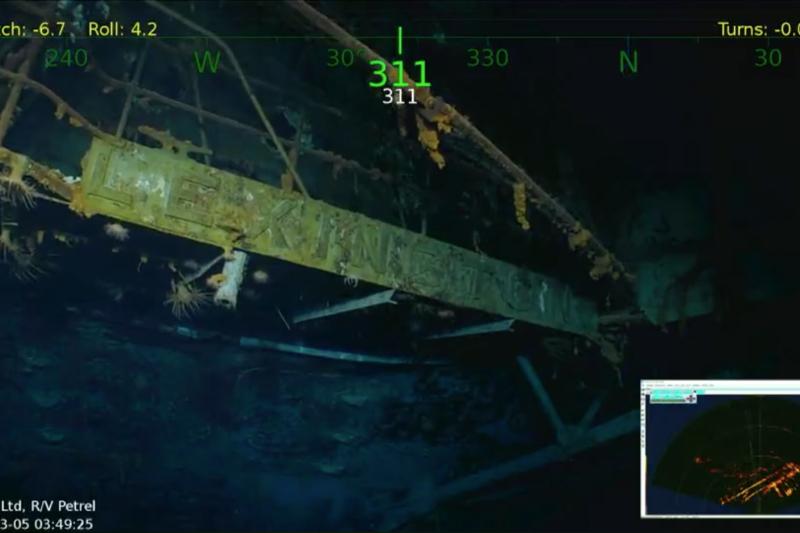 搜尋船R/V Petrel號在澳洲東部外海的海床上,發現列星頓號殘骸。(R/V Petrel臉書)