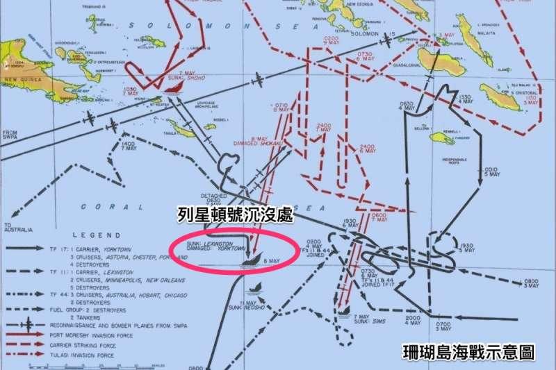 珊瑚島海戰示意圖。(維基百科/公用領域)