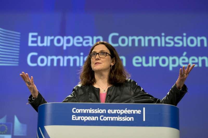 歐盟執委會(EU Commission)貿易事務專員(部長)梅爾斯壯(Cecilia Malmström)美國加徵鋼鋁關稅發表談話(AP)