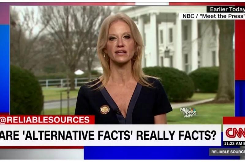20180308-康維在CNN主持人質問下,極力辯白說史派瑟「給出了另類事實」。 (作者提供,截圖取自CNN新聞).png
