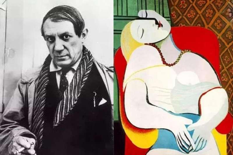 最近倫敦蘇富比拍賣中,畢卡索的《戴貝雷帽·穿格子裙的女子》以天價拍出,畫中主角是畢卡索一生中最重要的情人瑪麗·泰瑞莎…(圖/澎湃新聞提供,編輯合成)