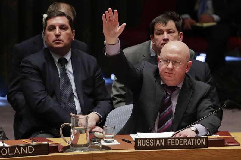 俄羅斯駐聯合國大使涅邊賈動用否決權。(美聯社)