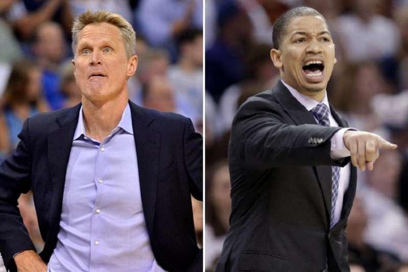 勇士柯爾(左)與騎士泰隆魯是兩名NBA冠軍教練,執教風格也非常不同。(美聯社)