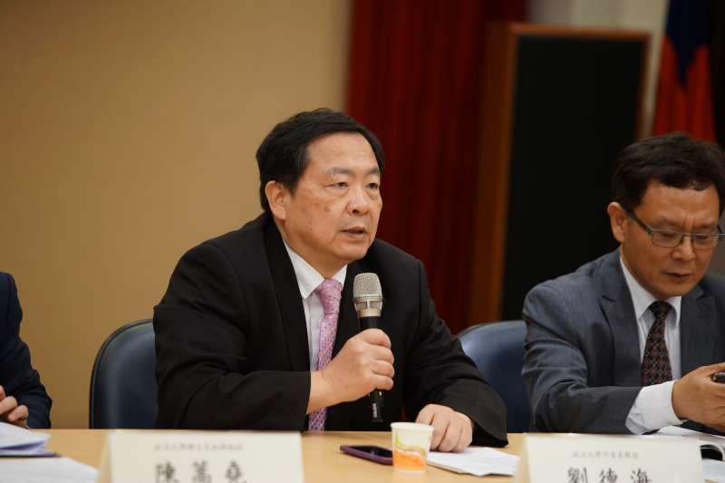 20180428-中華民國國際關係學會舉行「兩韓會談後 的朝鮮半島情勢分析」座談會,政大外交系劉德海教授發言。(盧逸峰攝)