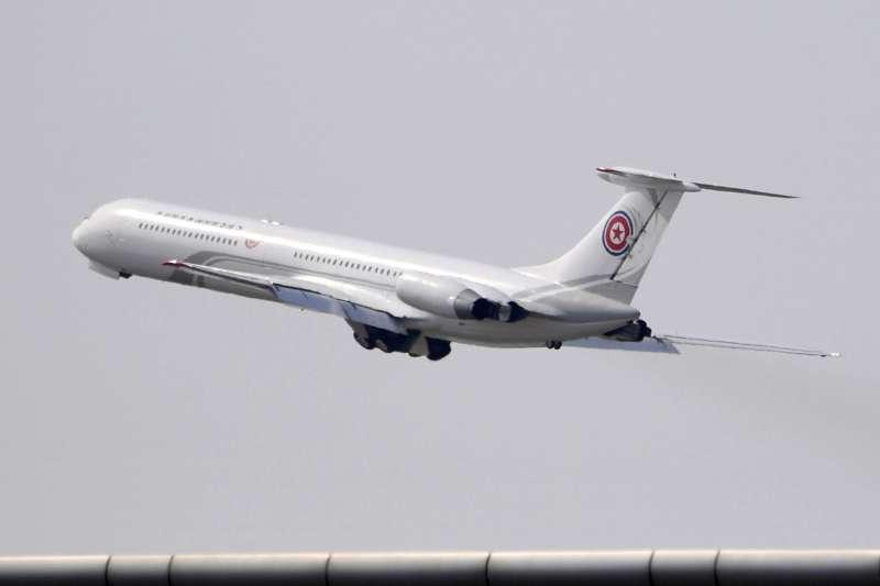 2018年5月7日金正恩搭乘專機蒼鷹一號。(AP)