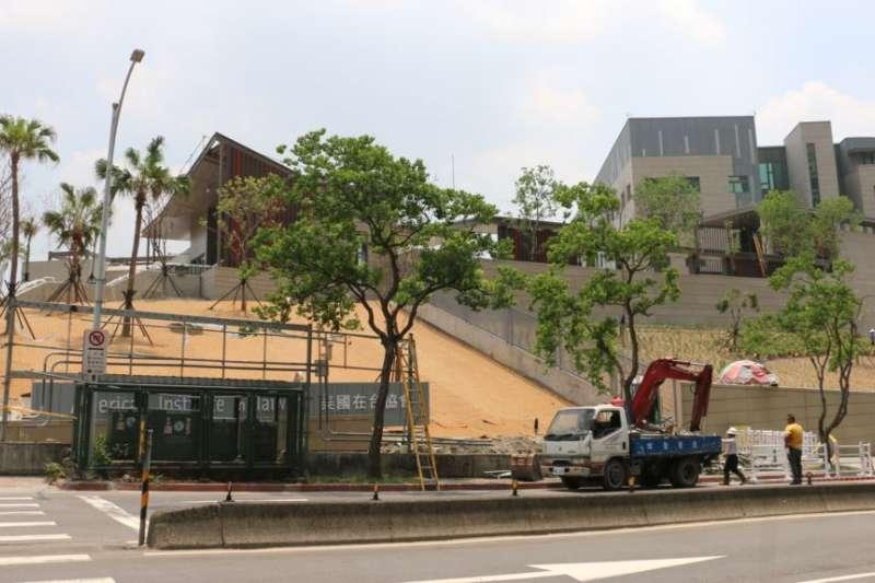 進入施工尾聲的美國在台協會駐台北辦事處新館。(美國之音)