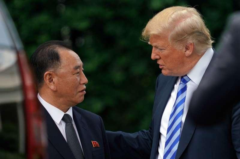 2018年6月1日,美國總統川普在白宮接見北韓特使金英哲(AP)
