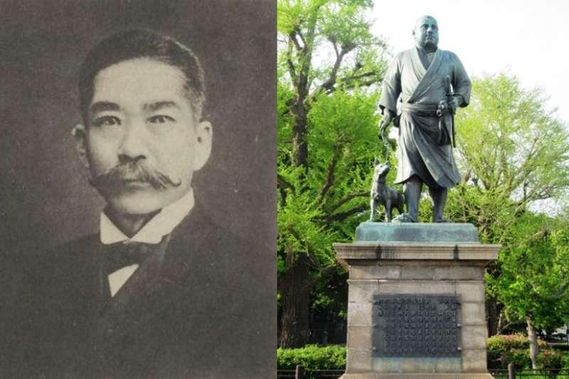 西鄉隆盛(右)與其子西鄉菊次郎(左)。(圖/想想論壇提供 風傳媒合成)