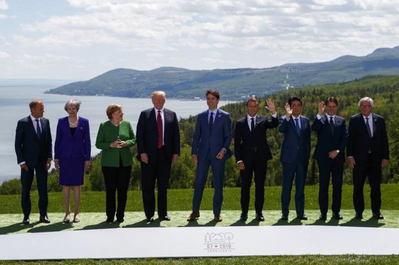 參加G7峰會的領導人。AP