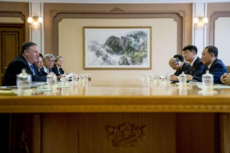 美國國務卿龐畢歐,將與金英哲共進午餐。(美聯社)