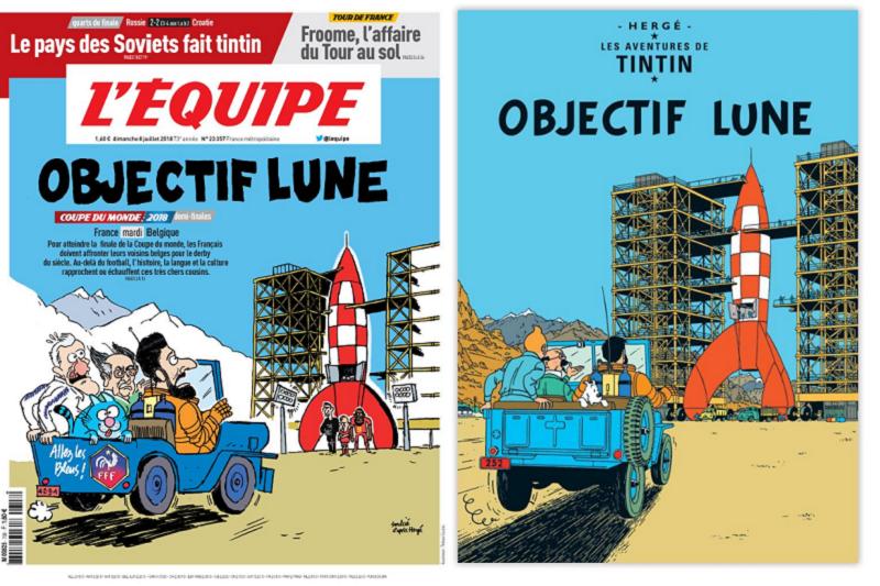 法國最大足球《隊報》重畫比利時畫家的漫畫名作《丁丁歷險記》,來暗喻法國與比利時之戰不容樂觀。(截圖自101 Great Goals推特)