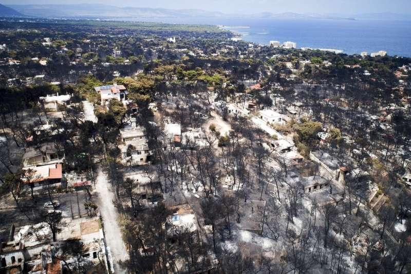 希臘森林大火。(AP)