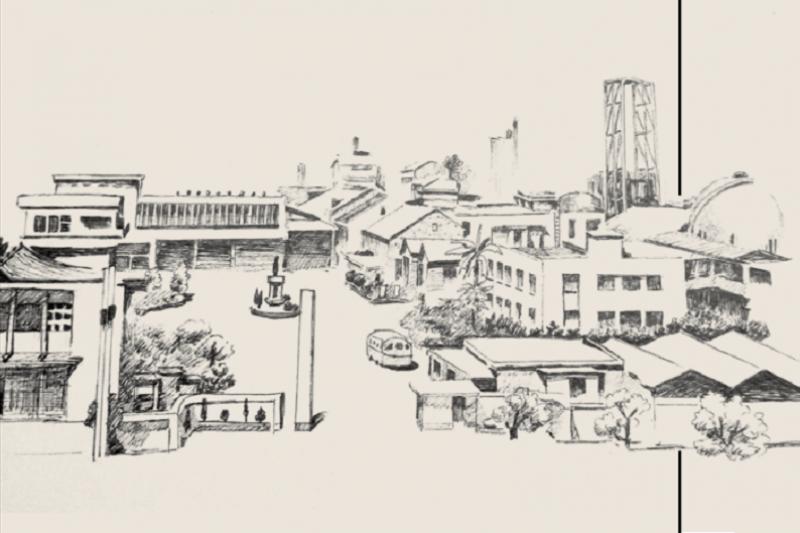 高雄硫酸錏廠,是當年戲獅甲工業區最重要的建設之一。(林立偉繪圖)