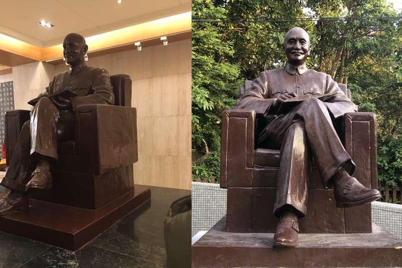 原本位於政大圖書館的蔣中正銅像(左)已遷移至華興育幼院(右)(政大)