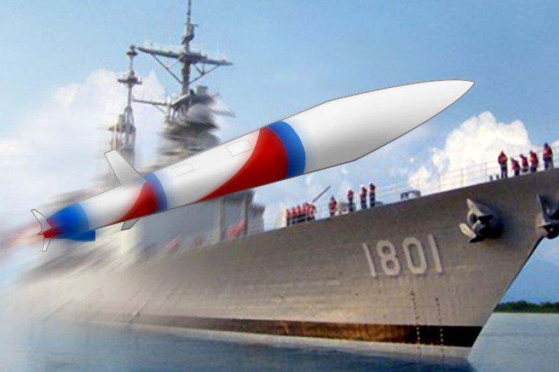 海軍最大戰艦紀德艦配置雄二E巡弋飛彈後如虎添翼,將成為我國海軍反制中國的海上主力及巡航南海的戰略基地。(取自中華民國海軍網站/影像合成:風傳媒)