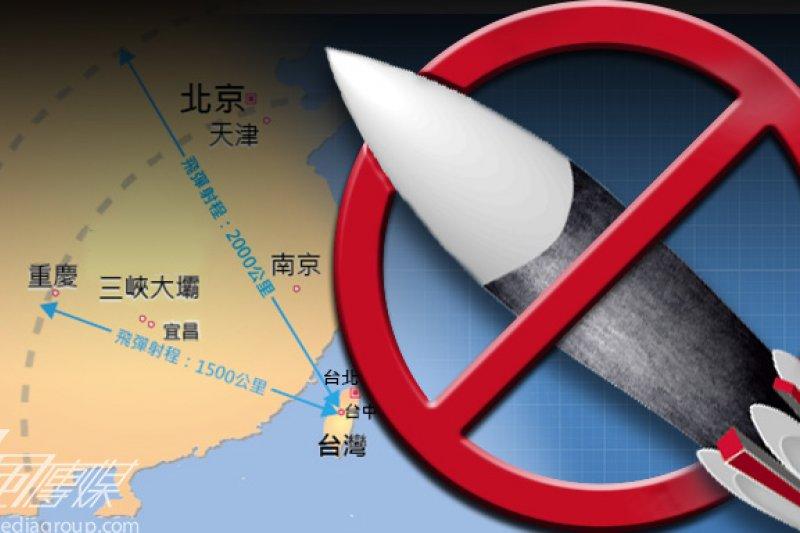 雲峰中程地對地飛彈原本計畫增加有效射程並展開量產,但因美方頻頻關切,國防部高層證實,已因壓力太大而中止量產。(製圖:風傳媒)
