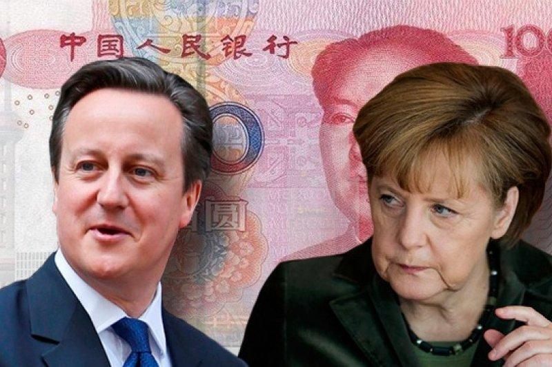歐洲爭取人民幣離岸中心的進度以英、德最快。圖為英國首相卡麥隆(左)與德國首相梅克爾(右)(風傳媒影像合成)