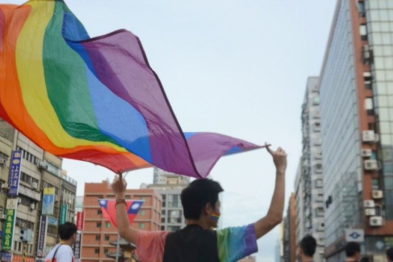同志大遊行已成台灣的一大特色,吸引許多外國人士參與(宋小海攝)