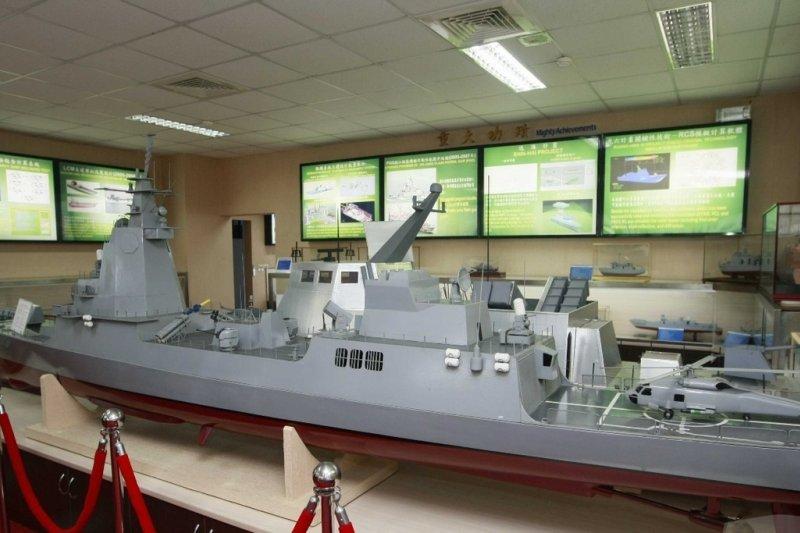 海軍委託丹麥DMI試驗室所製作的「ACS」艦1/50模型,曾經進行煙流試驗分析。(國防部提供)