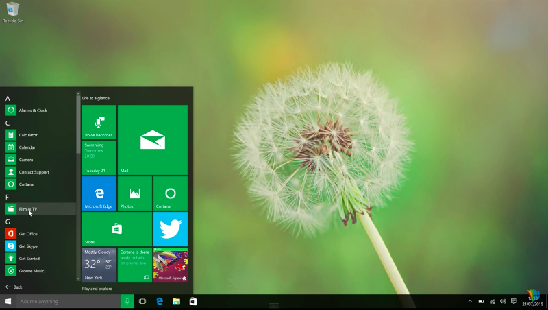 Windows 10 正式發行!(網路截圖)