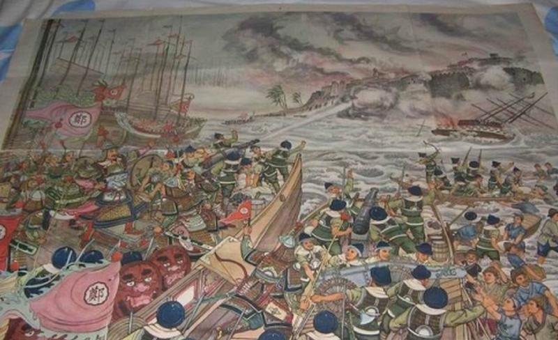 金門料羅灣海戰圖,鄭芝龍在這一役以「大明海軍」打退荷蘭,搶下海洋發言權。(人民網)