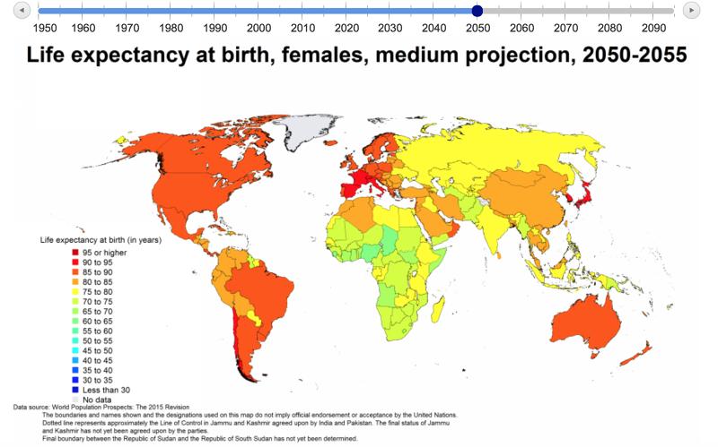 聯合國對2050年的全球人口老化情況預估。(聯合國官網)