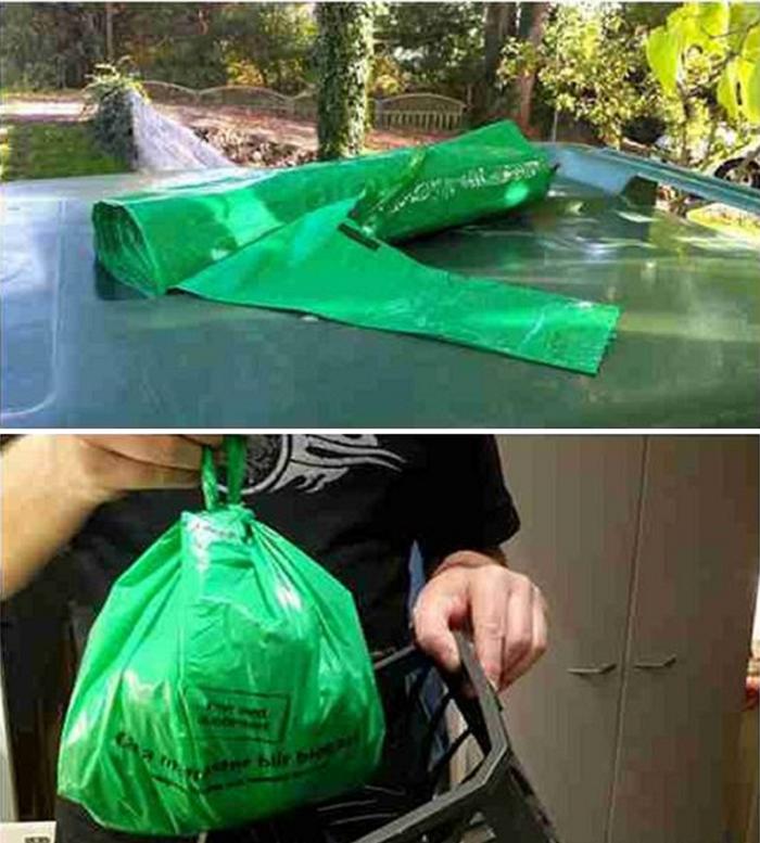 2011年開始實施綠色垃圾袋。(作者提供)