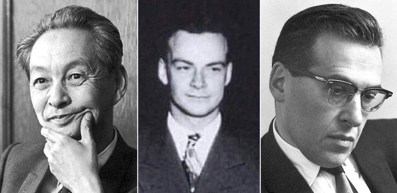 從左到右:1965年諾貝爾獎得主朝永振一郎及共同獲獎的理察·費曼及朱利安·施溫格。(維基百科)