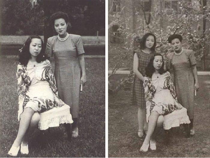 女作家與女明星的照片非常有名(左),後世好事者還加以合成為三人照(右)。(作者提供)