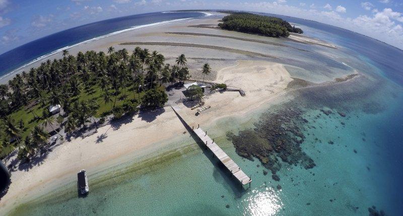 飽受海平面上升威脅的太平洋島國馬紹爾群島(Marshall Islands)(美聯社)