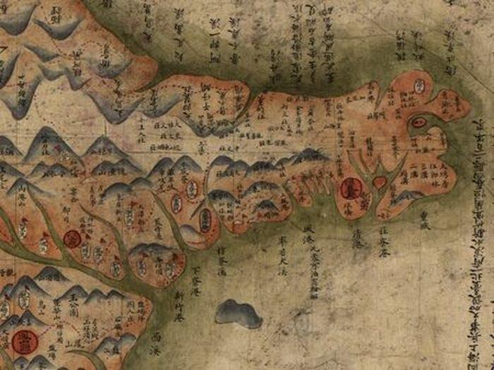 1879年李蓮琨繪製的《臺灣前後山全圖》恆春縣局部,詳列琅嶠下十八社。(美國國會圖書館藏)