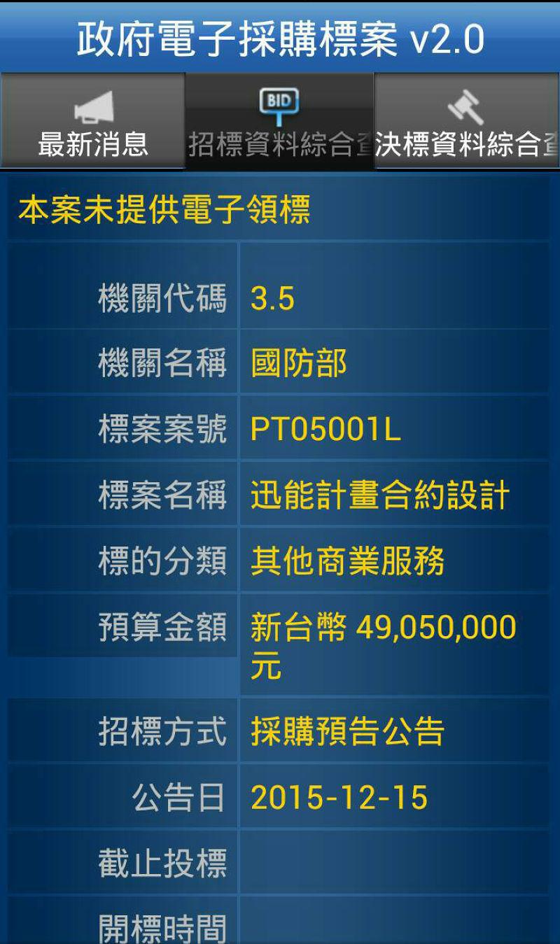 海軍在2015年年底啟動了迅海二階段的「迅能計劃」,規劃以4905萬元預算來進行船艦的設計合約案。(朱明攝)