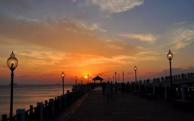 在台灣,有一種情調,叫淡水夕陽。(取自微信號直通台灣)