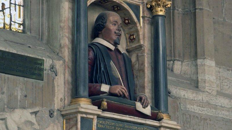 聖三一教堂內的莎翁半身雕像。(美聯社)