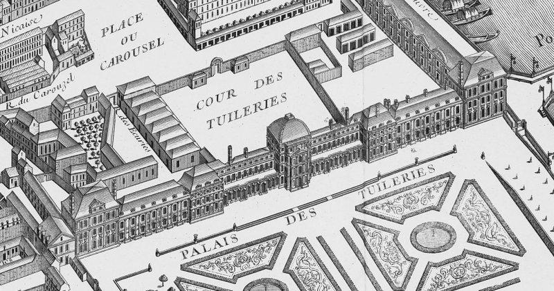 1792年8月10日被攻陷前的杜樂麗宮(取自Wikipedia)