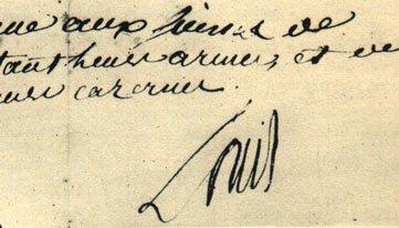 法國國王路易十六寫了字條,下令瑞士衛隊停火。(取自Wikipedia)
